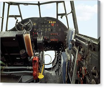 Vintage Airplane Canvas Print - Lancaster Bomber Cockpit by Panoramic Images