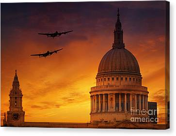 Lancasters Over St Pauls  Canvas Print by J Biggadike