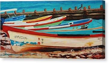 Lanchas Mexicanas Canvas Print by Janet McDonald