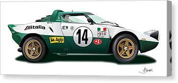 Lancia Stratos Hf On White Canvas Print