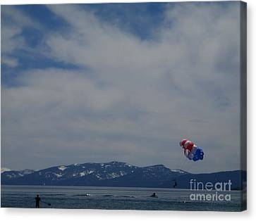 Canvas Print featuring the photograph Parasail Landing by Bobbee Rickard