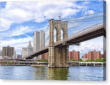 Landmark Brooklyn Bridge Canvas Print by Mark E Tisdale