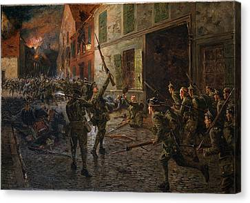 Landrecies, 25th August 1914, 1915 Canvas Print by William Barnes Wollen