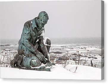 Land's End Lobsterman Statue Canvas Print by Benjamin Williamson
