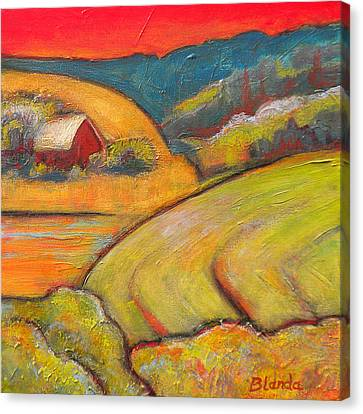 Landscape Art Orange Sky Farm Canvas Print by Blenda Studio