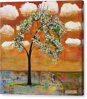 Landscape Art Scenic Tree Tangerine Sky Canvas Print by Blenda Studio