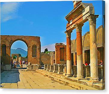 Landscape At Pompeii Italy Ruins Canvas Print by John Malone