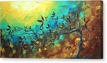 Landscape Bird Original Painting Family Time By Madart Canvas Print by Megan Duncanson