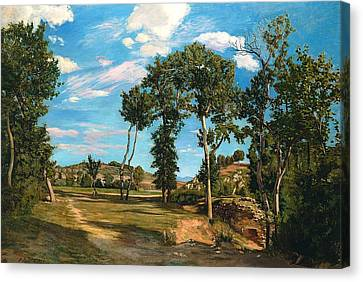 Landscape By The Lez River Canvas Print by Jean Frederic Bazille