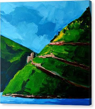 Landscape Castle Along The River Rhine Canvas Print by Patricia Awapara