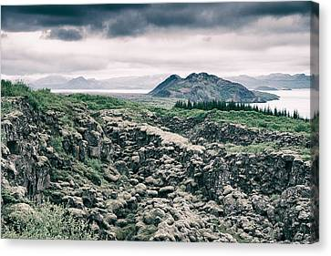 Landscape In Iceland - Lava Field And Lake Canvas Print