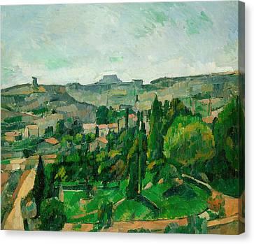 Landscape In The Ile-de-france Canvas Print by Paul Cezanne