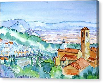 Tuscany Valley  Medieval Village Of Massa Canvas Print by Trudi Doyle