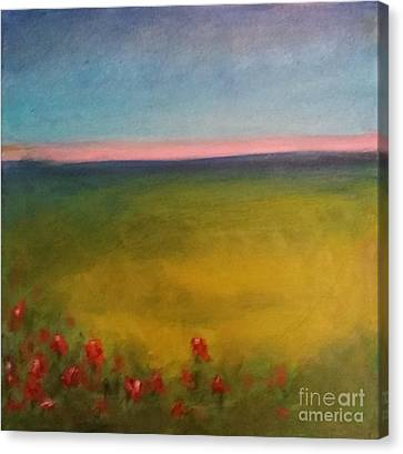 Landscape In Violet With Red Flowers Canvas Print by Piotr Wolodkowicz
