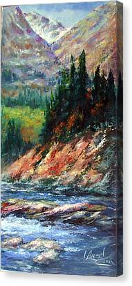 Canvas Print featuring the painting Landscape by Laila Awad Jamaleldin