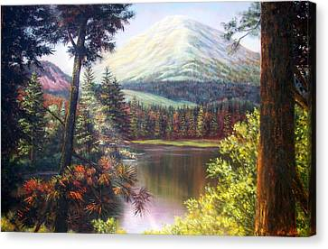 Landscape-lake And Trees Canvas Print by Loxi Sibley