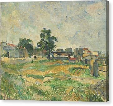 Landscape Near Paris Canvas Print by Paul Cezanne