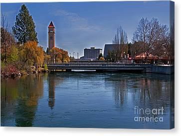 Landscape Of Spokane Wa Riverfront Park  Canvas Print by Valerie Garner