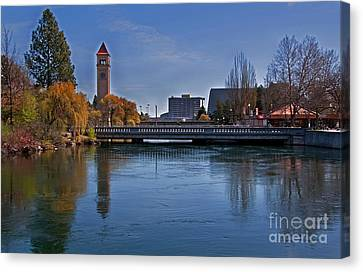 Landscape Of Spokane Wa Riverfront Park  Canvas Print by Valerie Garner
