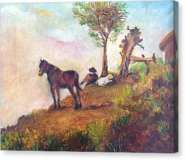 Landscape On A Ridge Canvas Print by Egidio Graziani
