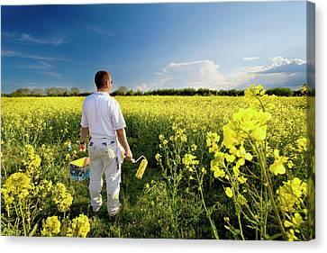 Workers Canvas Print - Landscape Painter by Declan Mccormack