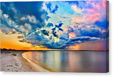Canvas Print featuring the photograph Landscape Panorama-blue Purple Pink Cloud Sunset Reflection by Eszra Tanner
