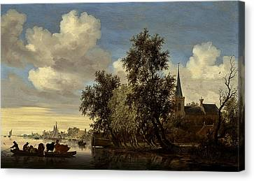 Canvas Print featuring the digital art Landscape by Salomon van Ruysdael