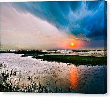 Canvas Print featuring the photograph Landscape-storm At Sea Sunset-rain Ripples-blue Clouds by Eszra
