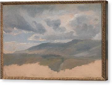Landscape Study With Clouds Canvas Print by �mile Loubon