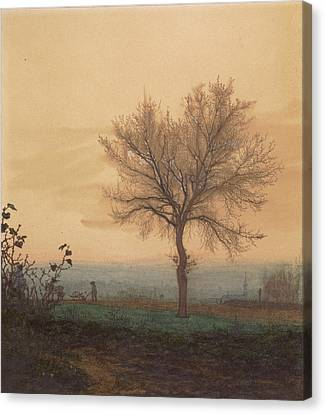 Landscape With A Bare Tree And A Plowman Léon Bonvin Canvas Print by Litz Collection