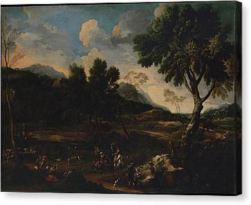 Landscape With A Battle Between Two Rams Canvas Print by Jan Miel