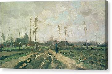 Landscape With A Church And Houses Canvas Print by Vincent van Gogh