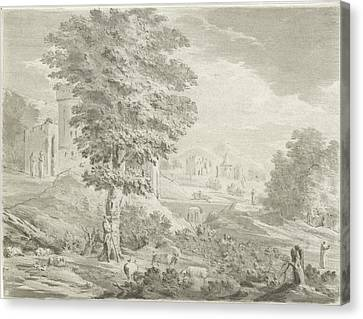 Landscape With A City In The Background, A Shepherd Canvas Print by Jurriaan Cootwijck