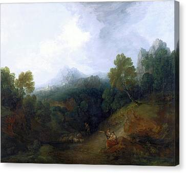 Landscape With A Flock Of Sheep Mountain Valley Canvas Print by Litz Collection
