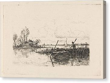 Rowboat Canvas Print - Landscape With A Man In A Rowboat, Print Maker Elias Stark by Elias Stark