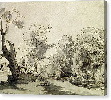 Landscape With A Path, An Almost Dead Tree On The Left And A Footbridge Leading To A Farm Canvas Print