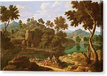 Riviere Canvas Print - Landscape With A River Oil On Canvas by Etienne Allegrain