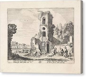 Landscape With A Ruined Tower June, Jan Van De Velde II Canvas Print by Jan Van De Velde (ii)