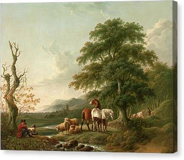 Landscape With A Shepherd Horses,sheep And Cattle Canvas Print by Litz Collection