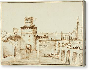 Landscape With A View Of A Fortified Port Guercino Giovanni Canvas Print by Litz Collection