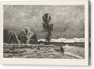 Landscape With A Woman Who Does The Laundry Canvas Print by Alexander Mollinger