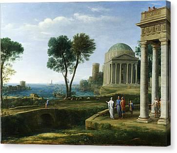 Delos Canvas Print - Landscape With Aeneas At Delos by Claude Lorrain