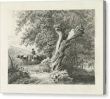 Landscape With Bare Tree And Shepherd, Constantinus Canvas Print by Quint Lox