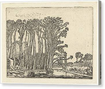 Landscape With Bare Trees At A Water Canvas Print by Quint Lox