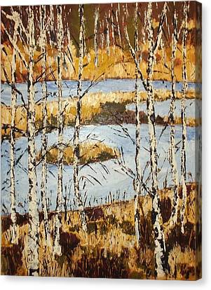 Landscape With Birches Canvas Print