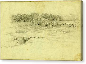 Landscape With Buildings, Drawing, 1862-1865 Canvas Print by Quint Lox