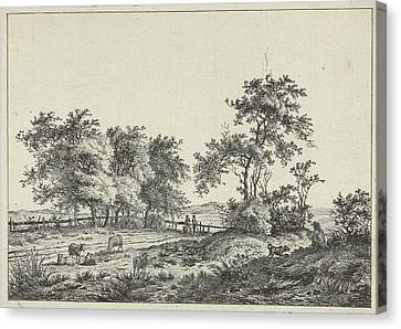 Landscape With Cartoonist And Dog, Hermanus Fock Canvas Print
