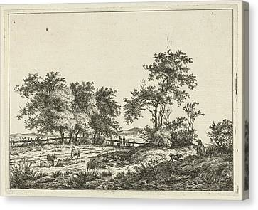 Landscape With Cartoonist And Dog, Hermanus Fock Canvas Print by Hermanus Fock