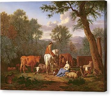 Conversing Canvas Print - Landscape With Cattle And Figures by Adriaen van de Velde
