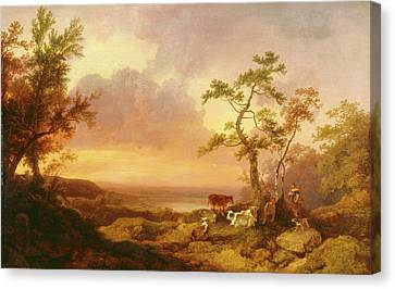 Landscape With Cattle And Peasant Landscape With Cattle Canvas Print by Litz Collection